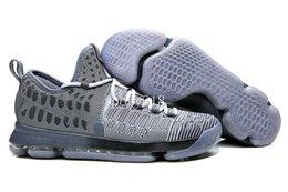 Promotion kds blanc Chaussures de basket-ball de KD 9 IX Fairmount Grey / Black / White hommes blancs de chaussures 2016 Kds KD9 Kevin Durant chaussures à vendre