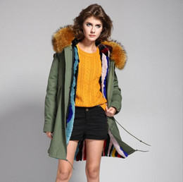 Wholesale Green cotton jacket lined with rabbit fur Women s Long furs Parkas hooded with raccoon fur collar