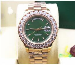 Luxury Christmas Gift 228238 18k Rose Gold Big Diamond Bezel Day Date 41mm Mens Automatic Watch green Dial Men's Sport Wrist Watches