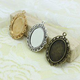 Sweet Bell Free Shipping Min order 20pcs Three Colors Tone Oval filigree Frame Cameo Settings 30*40mm (Fit 18*25mm) D0438