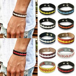 Unisex Men Women Braided Leather Bracelet Wristband Sports Cuff Bangle Softball Low Price with Free Shipping