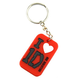 Wholesale 50PCS Lot I Love 1D Silicone Keychain One Direction Dog Tag Key Ring Promotion Gift