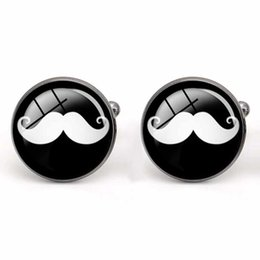 Cuff Link Men Shirt Glass Cabochon Cufflinks Moustache Party Shirt Accessories Copper Material Fashion Men's Charm Jewelry Wholesale