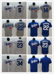 Men's Los Angeles Dodgers #22 Clayton Kershaw 23 Adrian Gonzalez 32 Sandy Koufax 5 Corey Seager 42 Jackie Robinson Flex Base Baseball Jersey
