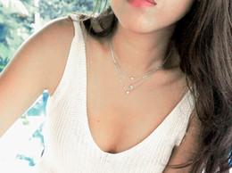 Superfine imitation diamond sliver necklace 925 silver triangle cut zircon
