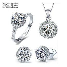 925 ensembles de mariée à vendre-Promotion Genuine 925 Sterling Silver Set Bijoux Argent CZ Diamond Ring Collier Boucles D'oreilles Bridal Wedding Jewelry Ensembles TZ001