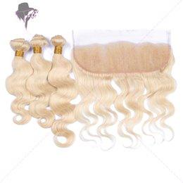 Descuento frontales del cordón de la onda del cuerpo brasileño Brasileño # 613 cabello rubio 3Bundles con 1Pc Body Wave Lace Frontal 4Pcs Lote 9A Virgin brasileño cabello rubio teje con frontales