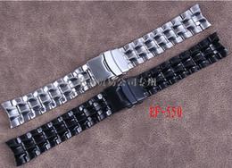 Descuento alto acero inoxidable pulido Venta al por mayor-Promoción 22mm Nuevo negro de alta calidad pulido de acero inoxidable banda de reloj Correa plegable hebilla de corchete para la marca EF-550