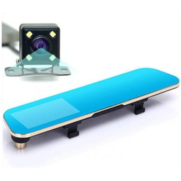 Wholesale New Novatek P Blue Rearview Mirror Camera Car Dvr Full HD Digital Video Recorder With Two Cameras Auto Dash Cam Black Box