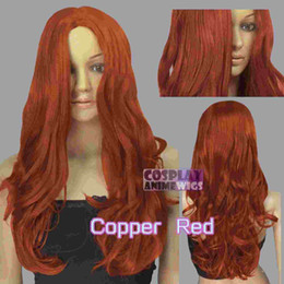60cm Copper Red Heat Styleable No Bang Curly wavy Cosplay Wigs 38_350