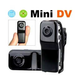 Promotion mémoires vidéo Vente en gros-Plus récent Mini DVR Camera MD80 + Clip Mini caméscopes Cams + Bracket Support Carte mémoire HD DVR Sports Caméra vidéo Installation facile
