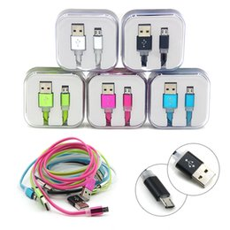 Candy Color Flat Noodle Micro USB Data Sync Usb Cable Charging Flashing Cable with Crystal box