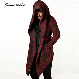 Wholesale Jamickiki Brand Long Trench Coat Men New arrival High Quality Mens Tops Jacket Outwear Black Red Hood Overcoat Asian Size