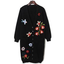 Noir cardigan tricoté à vendre-En gros-2016 automne hiver mode oiseaux motifs floraux broderie noir long cardigans tricoté pull oversized femmes de haute qualité