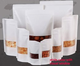 100pcs lot nice quality Moisture-proof Bags,Kraft Paper with three layer white color, Ziplock Packaging Bag for Snack Candy Cookie baking