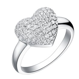 Wedding Women's Luxury Jewelry Silver Micro Pave CZ Diamond Ring Engagement Heart Rings Zirconia Anillos J070