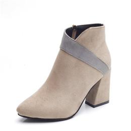 Women Boots High 6CM 2017 Suede Women Shoes Fashion High Heels Boots Retro Shoes Women Normal Size 35-39