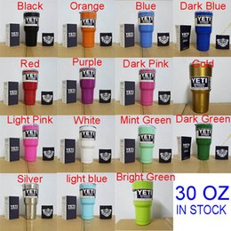 Wholesale 15 Colors Beer Mugs oz Yeti Cup Stainless Steel Rambler YETI Coolers Rambler Tumbler Double Walled Travel Mug By DHL