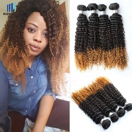 2017 27 ombre bouclé 400g Afro Kinky Curly Hair T 1b 4 27 Ombre Remy Extensions de cheveux humains Kinky Curly Blonde Brazililan Ombre Hair Weave promotion 27 ombre bouclé