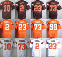 johnny manziel jerseys Promotion Vente en gros 23 Joe Haden Jersey 10 Robert Griffin III 31 Donte Whitner 2 Johnny Manziel Uniformes de sport 73 Joe Thomas Accueil Orange Blanc