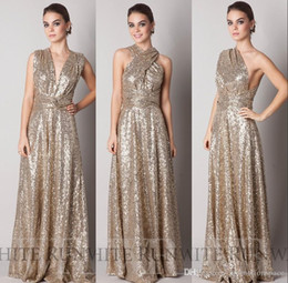 2016 Cheap Sparkly Convertiable Gold Sequins Bridesmaid Dress A Line Floor Length Long Custom Made Maid Of Honor Evening Prom Dress