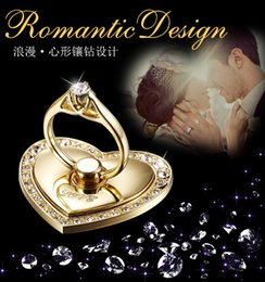 Wholesale Big love metal mobile phone creative ring buckle anti stolen heart shaped diamond brace anti stent