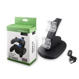 Descuento xbox dual PS4 controlador inalámbrico Charger Dock LED XBOX ONE PS4 Controlador dual estación de montaje Soporte de carga para juegos inalámbricos Dock controlador
