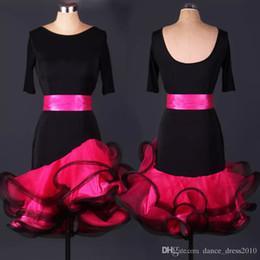 A048 New Adult Latin Dance Dress Salsa Tang Cha cha Ballroom Competition Group Dance Dress with belt S-XXL Customizable