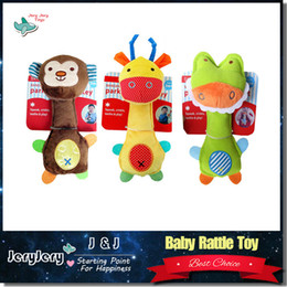 Wholesale Lovely Baby Rattle Toys Animal Hand Bells Plush Baby Toy High Quality Newbron Gift BB Sound