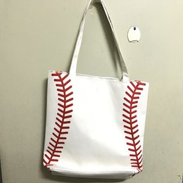 Wholesale small canvas bag Baseball Tote Bags Sports Bags Casual Tote Softball Bag Football Soccer Basketball Bag Cotton Canvas Material