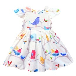 kseniya kids Girl's Dress Short Sleeve Cartoon Bird Pattern baby girl Dresses Print Flower princess 100% cotton