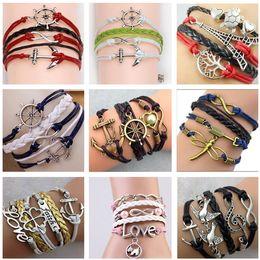 2017 54 styles bracelets infinity bracelets Love Believe Pearl Friendship Charm Multilayer Charm Leather Bracelets for women