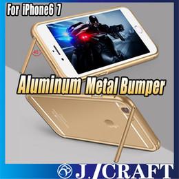 Supports métalliques pour le verre en Ligne-Aluminium Metal Bumper Case + Couverture de verre trempé avec fonction de support pour iphone 6s / 6s Plus iphone 7 7plus