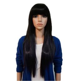 Wholesale WoodFestival longue perruque droite femmes perruques de cheveux peu coûteux longues perruques noires avec éclaboussures brun clair brun foncé cm