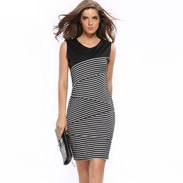 S-3XL Plus Size Fashion Women White Black Color Stripe V-neck Short Sleeve Formal Bodycon Dress Celeb Style Cocktail dresses Free shipping