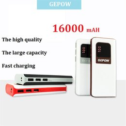 Wholesale USB plug GEPOW mAh Large capacity Power Bank LED panel Portable External Battery Charger the best polymer PowerBank