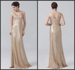 Wholesale Cheap Golden Satin - Dresses On Sale ELegant V Neck Custom Formal Wear Sleeveless High Quality Zipper Back Floor Length Sequined Golden Cheap Bridesmaid Dresses