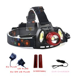 Promotion bulbe led caché High Power 5000 Lumens Lampe LED 2x18650 Batterie Rechargeable Headlight 3 ampoules LED 4 Modes Zoomable Head Lanterna Light Lamp