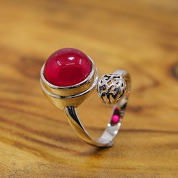Wholesale The New Sterling Silver Vintage S925 sterling silver jewelry Heritage Classic Silver Lady red corundum ring opening