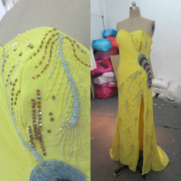 Luxury Prom Dresses Yellow Chiffon Long Formal Mermaid Sweetheart Sleeveless Ruched Beaded Sequins Sexy Pageant Gowns with Split Real Image