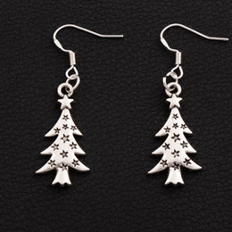 Star Light Christmas Tree Earrings 925 Silver Fish Ear Hook 40pairs lot Antique Silver Dangle Chandelier Jewelry E748 14.4x44mm