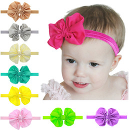 Girls Big Bow Flower Headbands Baby Hair Accessories Infant Toddler Chiffon Bow Knot Elastic Hairbands Childrens Classic Headwear 15 Colors