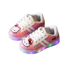 causal baby girl LED lighted shoes cute hello kitty luminous shoes for 1-6yrs girls kids children child princess sneaker shoes