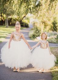 2016 nouvelles robes de filles de noël 2017 Nouvelle Princesse Robes Fille Fleur Spaghettie Champagne Mignon étage Longueur Sequin Tulle Cheap Kid Formal Wear Robes de Noël budget nouvelles robes de filles de noël