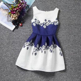 2017 wholesale latest fancy kids beautiful model dark blue and white casual cotton dresses children party dress designs