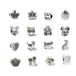 Wholesale Best Seller Mix Kinds Alloy Charm Bead Mickey Minnie Castle Owl Heart Apple Bone Pram Locomotive Silver Plated For Pandora Bracelet