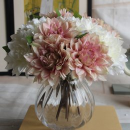 Wholesale Bunch Green Artificial Plant Fake Dahlia Bouquet Wedding Flower Floristry Party Home Decorative Colours