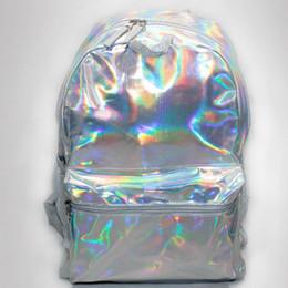 Mochila de cuero resistente al agua en venta-Impermeable de cuero PU láser reflectante colorido ocio mochila mochila mujeres