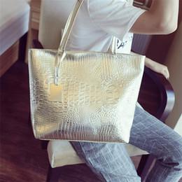 Fashion Casual Women Shoulder Bags Silver Gold Black Crocodile Handbag PU Leather Female Big Tote Bag Ladies Hand Bags