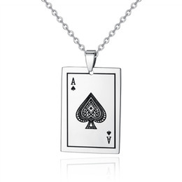 Fashion Jewelry Playing Cards Spades A Pendant 316L Stainless Steel Necklaces Men Necklaces With Free O Chains